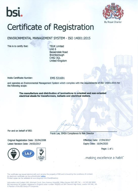 TEUK Laminations BSI EMS ISO 14001