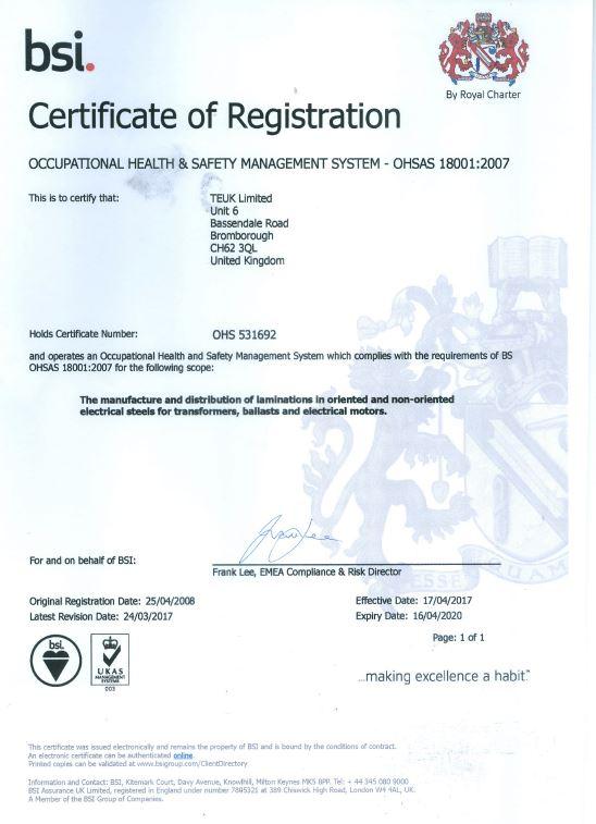 TEUK Laminations BSI OHSAS 18001