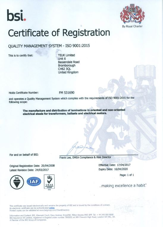 TEUK Laminations BSI QMS ISO 9001